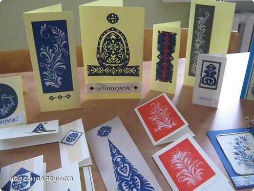 Делала открытки к Пасхе в росписи и вытинанке фото 7