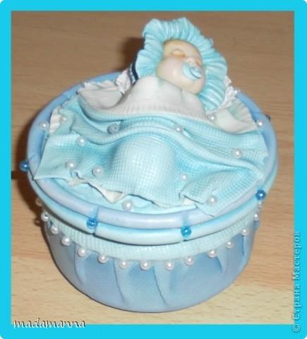 Декор предметов Мастер-класс Поделка изделие Лепка Спящий малыш+МК Банки стеклянные Фарфор холодный фото 2