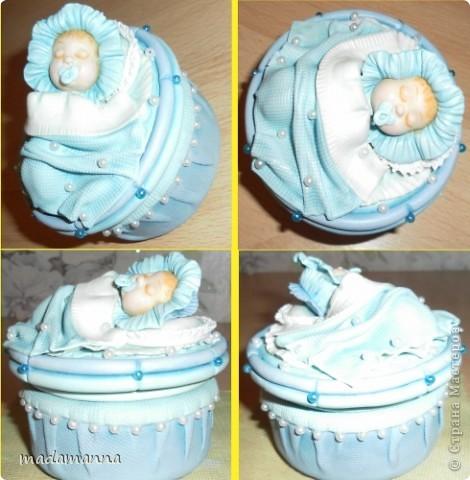 Декор предметов Мастер-класс Поделка изделие Лепка Спящий малыш+МК Банки стеклянные Фарфор холодный фото 12
