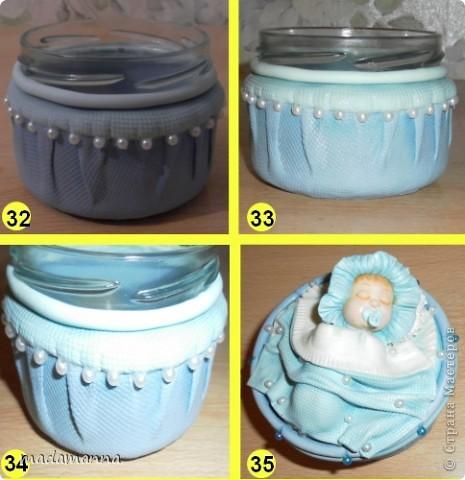 Декор предметов Мастер-класс Поделка изделие Лепка Спящий малыш+МК Банки стеклянные Фарфор холодный фото 11