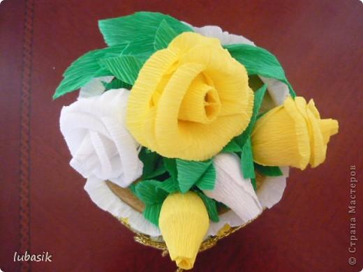 На день рождения подруге сделала конфетный тортик. Решила делать не очень ярким в светло бело - жёлто - зелёной гамме. фото 5