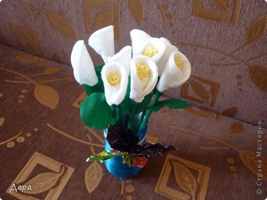 Букет калл - подарок для бабушки. За основу взят МК Милы88. Большое спасибо. фото 1