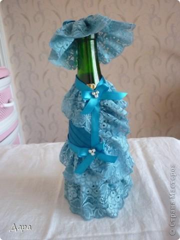 Первая работа в декорировании бутылки лентами. фото 1