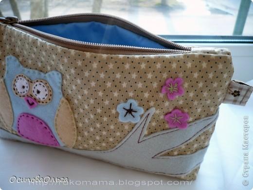 Мне очень нравится  замечательный блог Елены Гришиной. Она шьет потрясающие сумки ( и не только), там же есть и мастер-классы. Вот хороший мастер класс по пошиву косметички: http://dushechki.blogspot.com/2012/02/blog-post_2481.html#more  По нему я и сшила вот такую: фото 4