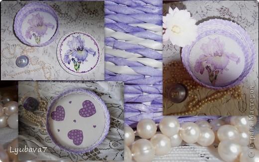 Всем привет!!! В продолжение цветочной темы (http://stranamasterov.ru/node/312886, http://stranamasterov.ru/node/314823), сплела сиреневую шкатулку в подарок.  фото 7
