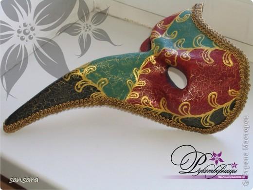 """Маска """"Нос турка"""", основа - папье-маше, декор - акриловые краски, кракелюр, пастель, тесьма фото 1"""