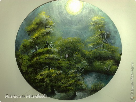 "Пейзаж на пластинке ""Лунная ночь"" фото 2"