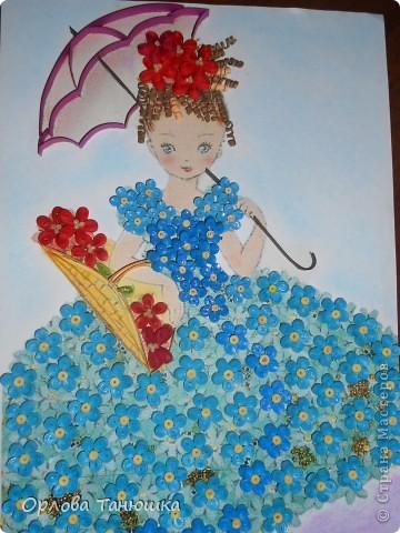 Давно хотела сделать картину с незабудками, но хотелось что-то необычное, а не букет этих прекрасных нежных цветочков. И вот нашла винтажную открытку, по которой и родилась моя работа. Очень надеюсь, что я её не испортила. фото 1