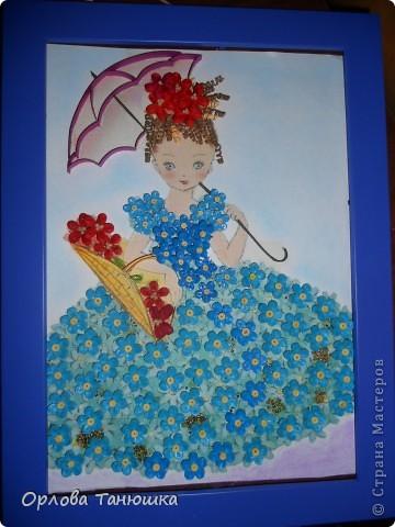 Давно хотела сделать картину с незабудками, но хотелось что-то необычное, а не букет этих прекрасных нежных цветочков. И вот нашла винтажную открытку, по которой и родилась моя работа. Очень надеюсь, что я её не испортила. фото 4