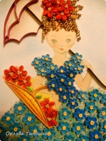 Давно хотела сделать картину с незабудками, но хотелось что-то необычное, а не букет этих прекрасных нежных цветочков. И вот нашла винтажную открытку, по которой и родилась моя работа. Очень надеюсь, что я её не испортила. фото 3