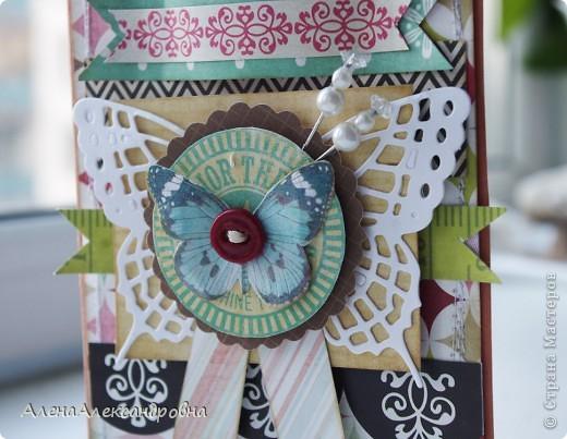 Сегодня у меня сделалось две открытки по одному скетчу, но в разных стилях. Первая - нежная, цветочная...Розу покрыла блестками. фото 6