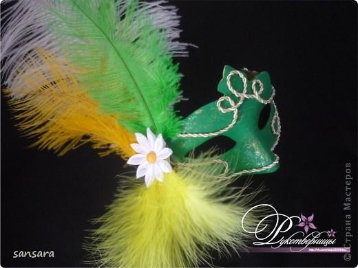 """Маска """"Нос турка"""", основа - папье-маше, декор - акриловые краски, кракелюр, пастель, тесьма фото 3"""