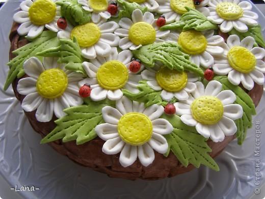 Мастичный тортик для любительници ромашек фото 1