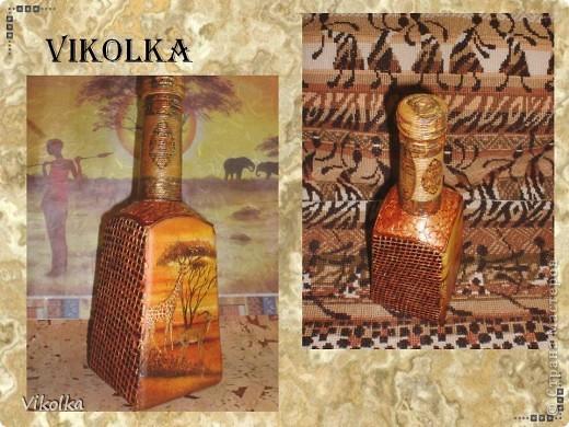 Здравствуйте, мои дорогие жители СМ! Я опять пришла к вам с бутылочкой! Захотелось сделать Африку! Работала с тем , что есть в наличии! Вроде много делала бутылок, но ни одной не осталось. А африканскую тему  делала только в третий раз.   Материалы - стеклянная бутылка 0,5л, две стенки с логотипами зашпатлеваны, высушены, сверху опять шпатлёвка через строительную сетку, отшкурено, загрунтованы все грани, покрыто акриловым лаком. фото 2