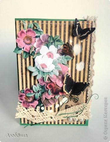 Вот такая простенькая открыточка)))) ... с шиповником  .... и бабочками)))