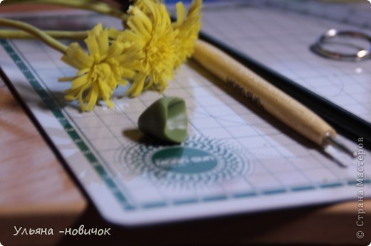 Что нам потребуется: глина желтая,зеленая, и светло-зеленая стек проволока папка или паста-машина стек с булькой маленькой пастель терпение и ... терпение)) фото 9
