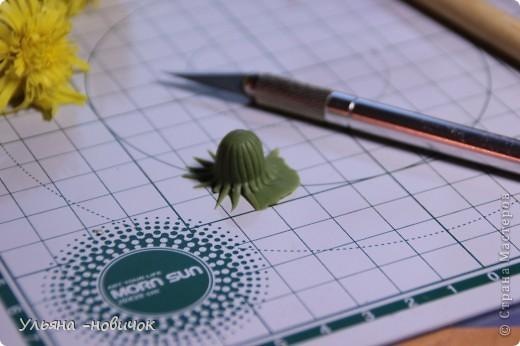 Что нам потребуется: глина желтая,зеленая, и светло-зеленая стек проволока папка или паста-машина стек с булькой маленькой пастель терпение и ... терпение)) фото 10