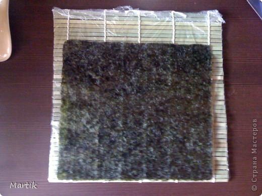 Для суши я использовала: 2 стакана риса(специальный для суши или же можно взять обычный рис,но только круглый!!!) Сегодня я использовала обычный круглый рис. 3 стакана воды(кипяток) листы нори филе сельди крабовые палочки сметана(домашняя) соевый соус васаби маринованный имбирь бамбуковый коврик пищевая пленка палочки для суши фото 9