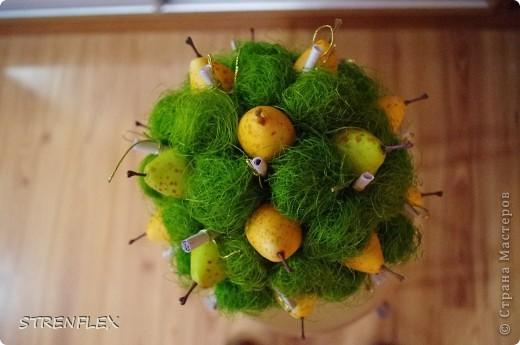 """У моего ребенка на той неделе был выпускной в саду. К этому самому событию и были сделаны некоторые мои поделки. Вот одним из них сотворилось грушевое дерево. Но по ходу создания оно получилось не простым, а благодарственным. Сначала было решено подарить просто фруктовое дерево - за то что таких """"фруктов"""" нам воспитали!!! Дома оказались груши... Но желание передать благодарность не иссякало. Вот и придумалось мне, что бы каждый ребенок написал на маленьком листочке слова благодарности... А потом эти листики скрутить и перевязать золотыми ниточками... А как же это все прикрепить, чтоб записки возможно было прочитать... Вот тогда и дошли руки до сизали... фото 3"""