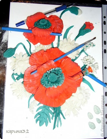 Решила попробывать сделать похожие  маки как у girasole2161 http://stranamasterov.ru/node/349319?c=favorite     Это первый мой опыт с цветами, много есть недочетов. Что получилось судить вам.... фото 5