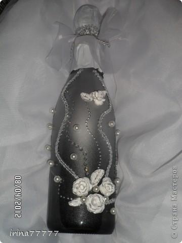 свадебная бутылочка (первая), первые розочки из пластика фото 2