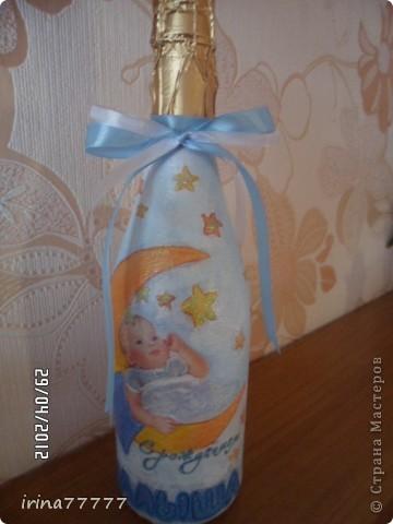 """Бутылка """"С рождением девочки"""" фото 2"""
