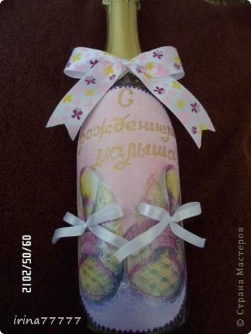 """Бутылка """"С рождением девочки"""" фото 3"""