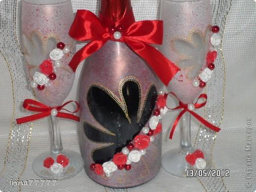 свадебная бутылочка (первая), первые розочки из пластика фото 3