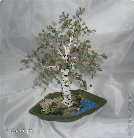 Деревце из лунного камня с бусинками от сглаза. фото 13