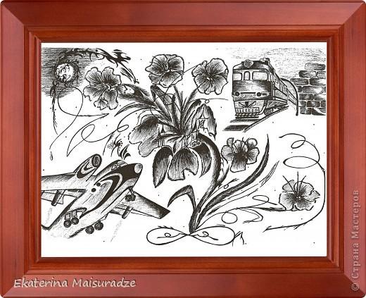 И еще мои рисунки. Рамка сделана фотошопом.  Материал: бумага, гелиевая ручка. фото 3