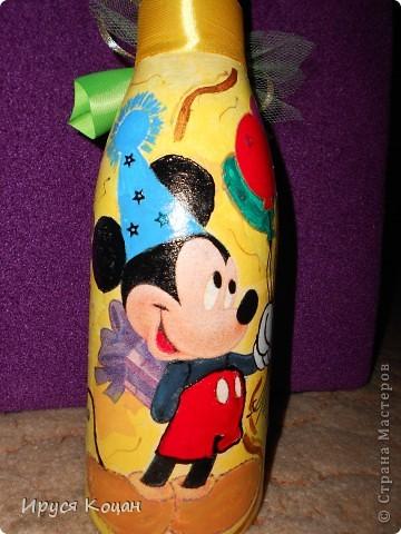 Вот такая бутылочка получилась, моей крестнице на День Рождения!!! фото 2