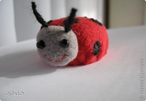 Вот такая игрушка у меня получилась благодаря Тимофеевне,ей огромное спасибо за идею с божьими коровками.Но т. к. я все люблю усложнять,решила пробочки обшить тканью и сделать аппликацию,потому что рисовать совсем не умею,больше дружу со швейной машинкой. фото 6
