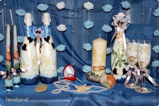 """Второй пост посвящен более привычному для меня занятию - декупажу и декору свадебного набора.Начало истории  http://stranamasterov.ru/node/371347#comment-4261720. Это """"жильцы"""" свадебного стола молодых. почти в полном сборе. фото 1"""