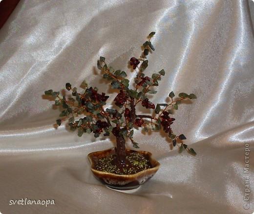 Деревце из лунного камня с бусинками от сглаза. фото 9