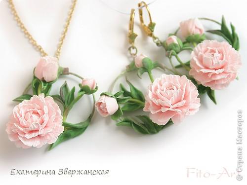 "Серьги и кулон с пионами ""Райский сад"" фото 2"