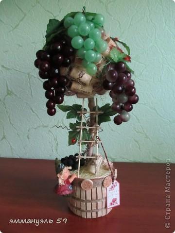 Представляю вам дорогие мастерицы свои виноградно-пробковые топиарии. Оба сделаны на заказ. Первое останется в моем родном городе, а другое уедит в Израиль к подруге. Ей очень понравилось самое первое которое я делала и вот захотела точно такое, ну я немножко изменила. И получились мои тройняшки. фото 1