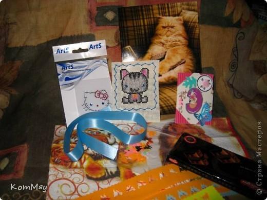 Итак, последний день уходящего мая я завершаю своими похвастушками. В мае я получила три подарочка от друзей: от Алисы (Алисёнок-Кисёнок), от Ирины (Ирина Пырьева) и от Марины (ENOTiK). А поскольку близится моя Днюха, то будем считать, что это я начала принимать подарки на День рождения...  Первым приехал подарок от Алисы из Башкирии. Ну, девчонки, радуйтесь вместе со мной! Валюта, наклейки, вырубные киски, прикольная открытка с котом, первая в моей жизни АТС-ка. Первый раз держу в руках АТС-ку. Интересно! А также - ленточка для творчества, шоколад и миниатюрнавя вышивка котейки - просто суперская вышивка! фото 1
