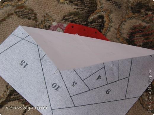 Этот способ шитья ОЧЕНЬ облегчает создание узоров любой сложности в технике лоскутного шитья, острые углы, мелкие мотивы, и пр. Шьем на бумажной основе, можно использовать любую бумагу, я простую офисную использую. фото 8