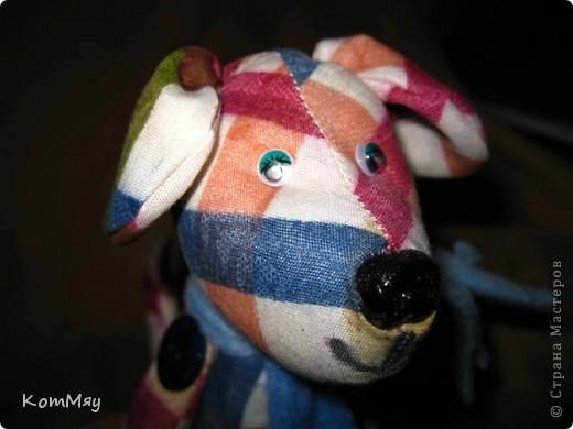 Собачонка, сшитая из хлопка по тильдовской выкройке. Простая собачка. Без затей.  фото 2