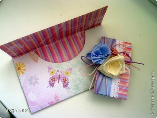 Подарочный конверт с атласными розами фото 2