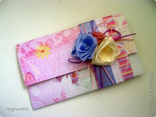Подарочный конверт с атласными розами фото 1