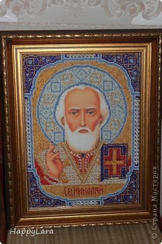 Св. Николай Чудотворец вышит был в подарок маме фото 1