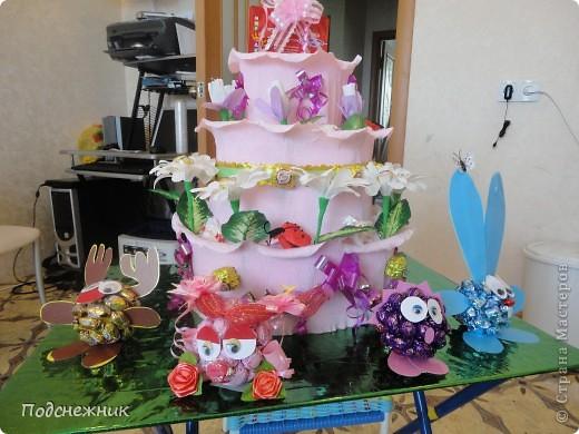 Такой торт был изготовлен мной по случаю рождения первой внучки нашего руководителя по работе. фото 1