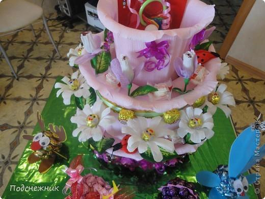 Такой торт был изготовлен мной по случаю рождения первой внучки нашего руководителя по работе. фото 2