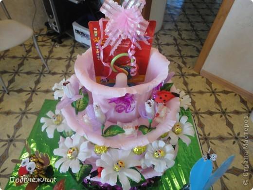 Такой торт был изготовлен мной по случаю рождения первой внучки нашего руководителя по работе. фото 3
