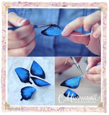 Подробный мастер-класс о том, как я делала свою голубую бабочку, можно посмотреть здесь http://www.minchanka.by/ukrasheniya/marina_volkova_butterfly.html  фото 1