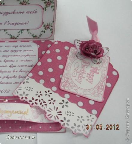 Привет, ещё раз! Эта открытка-стойка на День Рождения дочкиной подружки. Девочка очень яркая, кокетливая, модница, поэтому туфелька на тоненькой шпильке - это то что нужно. фото 6