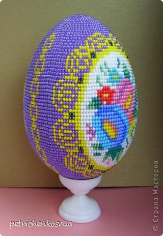 Оберег Поделка изделие Пасха Бисероплетение Яйцо сувенирное Цветочный медальон Бисер фото 3.