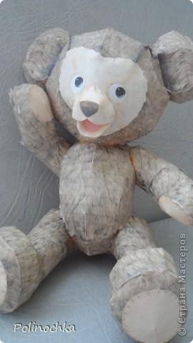"""Привет Жители Страны Мастеров.  Это медведь по имени """" Джеф"""". Он полностью сделан из бумаги. фото 1"""