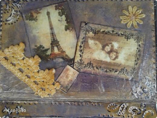 обложка книги- де купаж-распечатка на фольге ,состаривание,акрил.краски. фото 3
